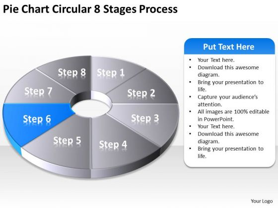 Pie Chart Circular 8 Stages Process Business Plan Template PowerPoint Slides