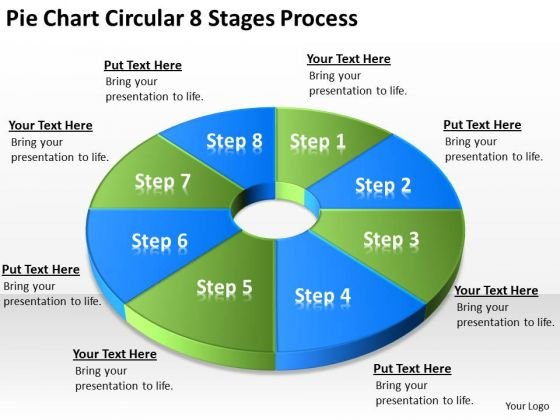 Pie Chart Circular 8 Stages Process Cleaning Service Business Plan PowerPoint Slides
