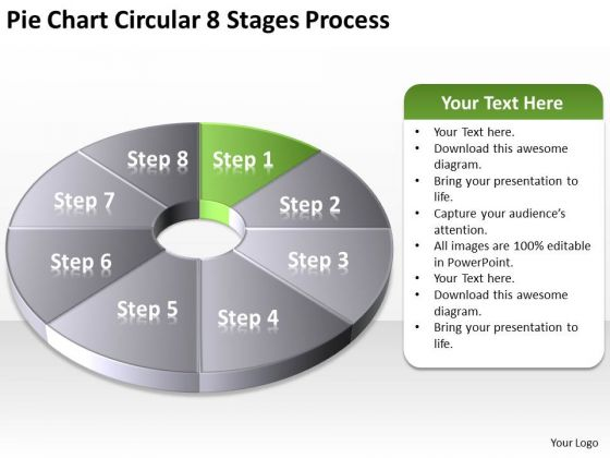 Pie Chart Circular 8 Stages Process Example Of Small Business Plan PowerPoint Slides