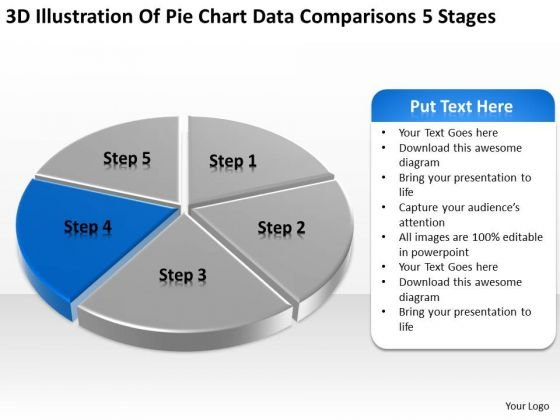 Pie Chart Data Comparisons 5 Stages How To Develop Business Plan PowerPoint Templates