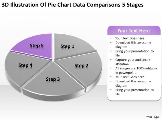 Pie Chart Data Comparisons 5 Stages Ppt Designing Business Plan PowerPoint Templates
