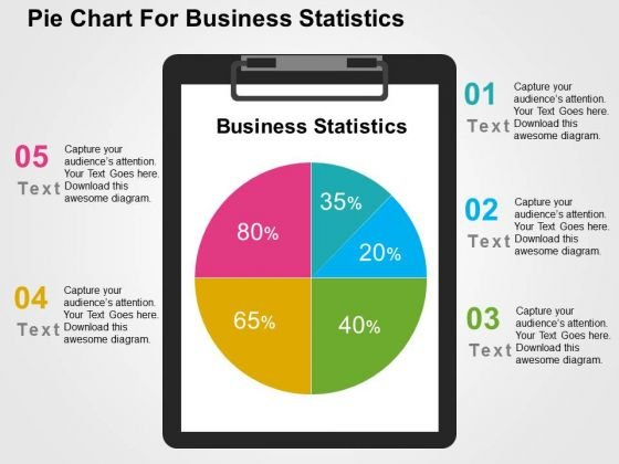 Pie Chart For Business Statistics PowerPoint Template
