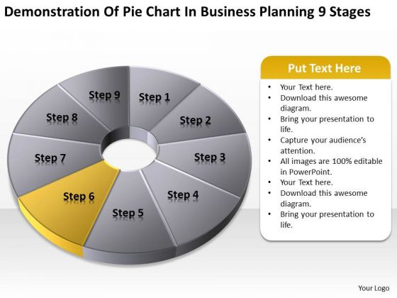 Pie Chart In Business Planning 9 Stages Ppt Assistance PowerPoint Slides