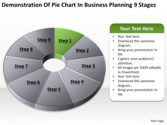 Pie Chart In Business Planning 9 Stages Ppt Franchise PowerPoint Templates