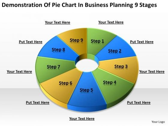 Pie Chart In Business Planning 9 Stages Ppt Service PowerPoint Slides