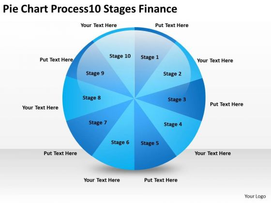 Pie Chart Process 10 Stages Finance Ppt How To Right Business Plan PowerPoint Templates