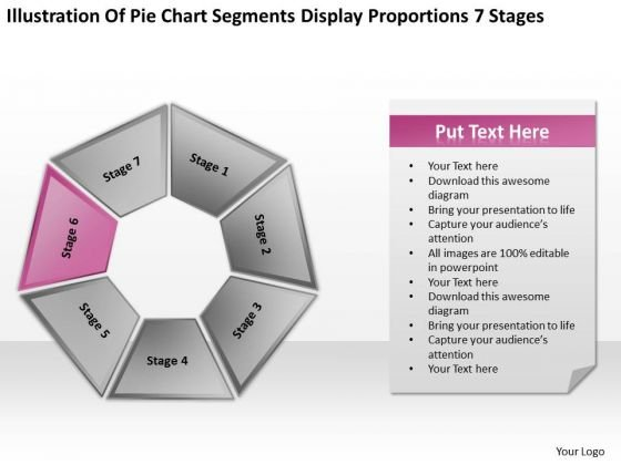 Pie Chart Segments Display Proportions 7 Stages Ppt Business Plan PowerPoint Templates