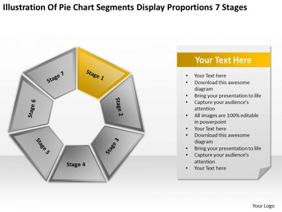 Pie Chart Segments Display Proportions 7 Stages Ppt Sample Sales Business Plan PowerPoint Slides