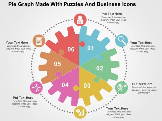 Pie Graph Made With Puzzles And Business Icons PowerPoint Template