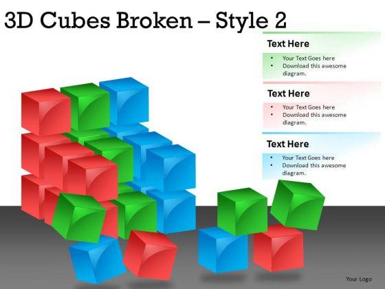 Pieces 3d Cube Broken 2 PowerPoint Slides And Ppt Diagram Templates