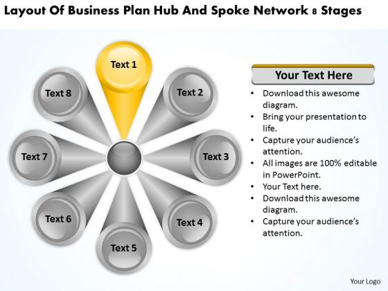 Plan Hub And Spoke Network 8 Stages Business PowerPoint Templates
