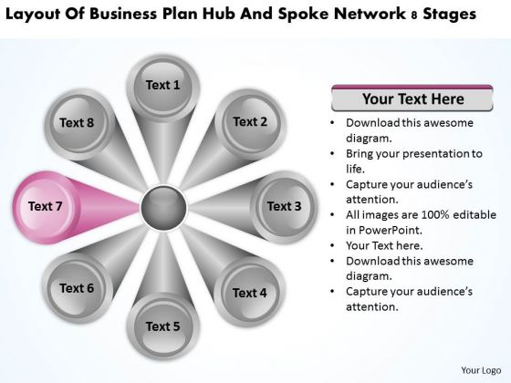 Plan Hub And Spoke Network 8 Stages Sample Business For PowerPoint Slides