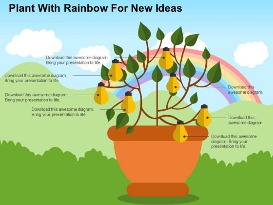 Plant With Rainbow For New Ideas PowerPoint Template