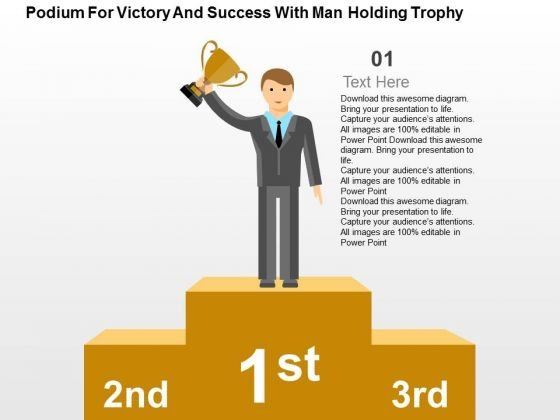 Podium For Victory And Success With Man Holding Trophy PowerPoint Template
