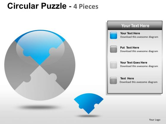 Point Circular Puzzle 4 Pieces PowerPoint Slides And Ppt Diagram Templates