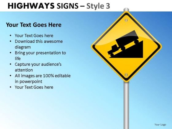 Pole Highways Signs 3 PowerPoint Slides And Ppt Diagram Templates