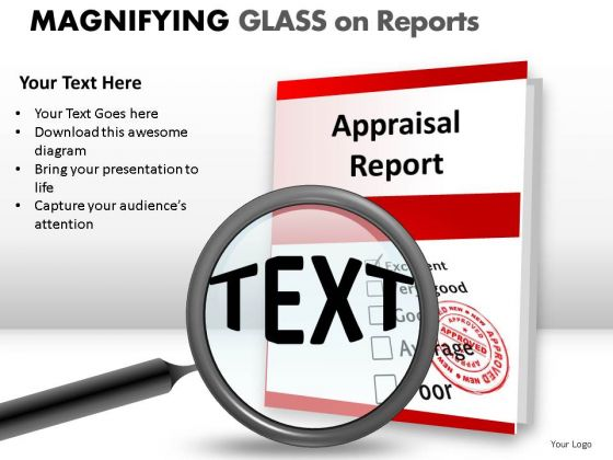 Polished Magnifying Glass On Report PowerPoint Slides And Ppt Diagram Templates