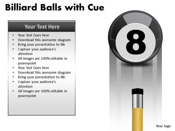 Poolball Billiard Balls With Cue PowerPoint Slides And Ppt Diagram Templates