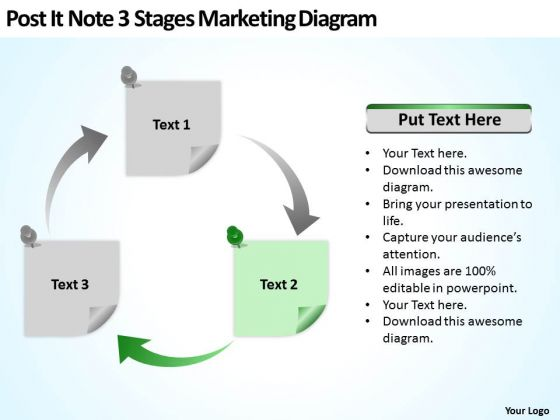 Post It Note 3 Stages Marketing Diagram Pp Model Business Plan PowerPoint Templates