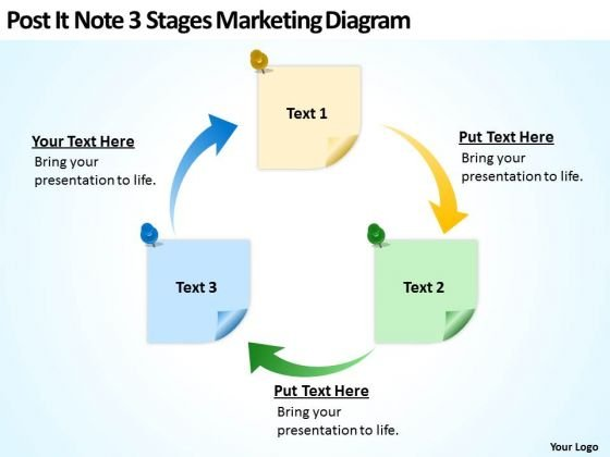 Post It Note 3 Stages Marketing Diagram Ppt Business Plan Format Outline PowerPoint Templates