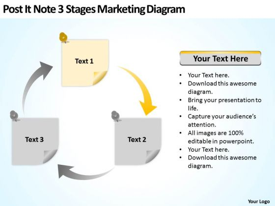 Post It Note 3 Stages Marketing Diagram Ppt Business Plan Formats PowerPoint Templates