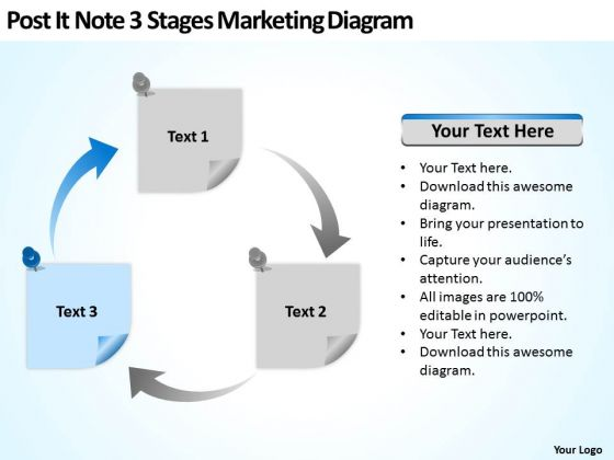Post It Note 3 Stages Marketing Diagram Ppt Business Plan PowerPoint Templates