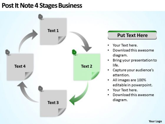 Post It Note 4 Stages Business Ppt How To Form Plan PowerPoint Templates