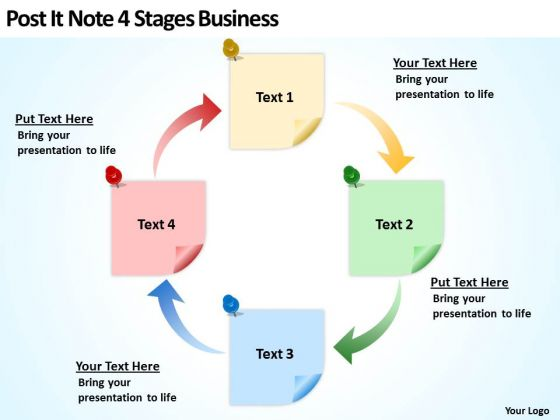Post It Note 4 Stages Business Ppt How To Make Plan PowerPoint Slides