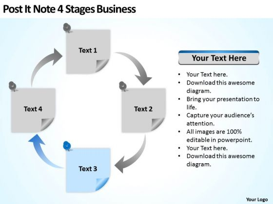 Post It Note 4 Stages Business Ppt How To Write Plan Template PowerPoint Slides