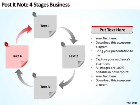 Post It Note 4 Stages Business Ppt Sample Plans Free PowerPoint Slides