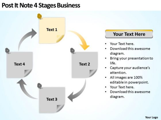 Post It Note 4 Stages Business Ppt Sample Proposal PowerPoint Slides