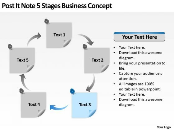 Post It Note 5 Stages Business Concept Ppt Basic Plan PowerPoint Templates