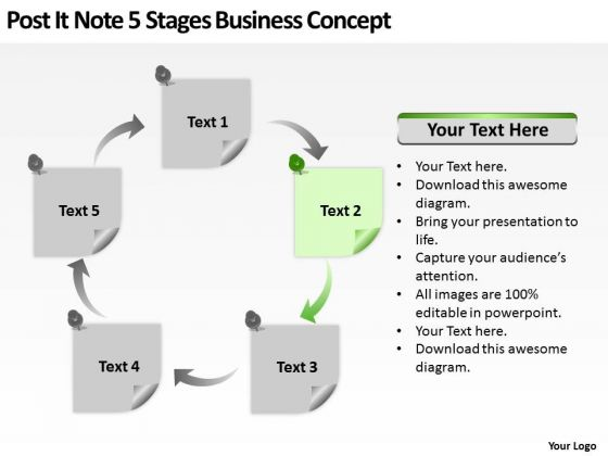 Post It Note 5 Stages Business Concept Ppt Magazine Plan PowerPoint Templates