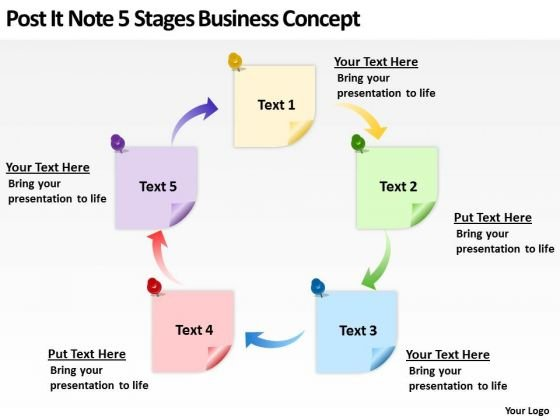 post it note 5 stages business concept ppt non profit plan template