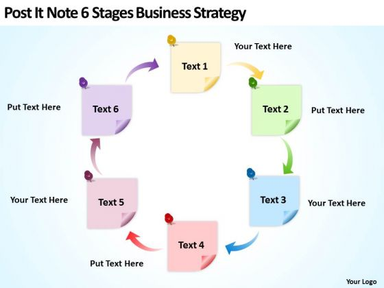 Post It Note 6 Stages Business Strategy Consultants Ppt Plan Builder PowerPoint Slides