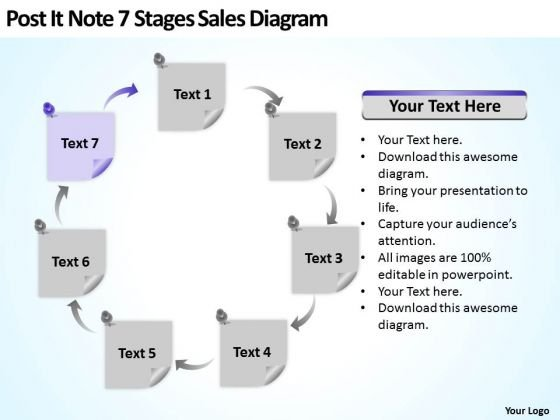 Post It Note 7 Stages Sales Diagram Ppt Business Contingency Plan PowerPoint Slides