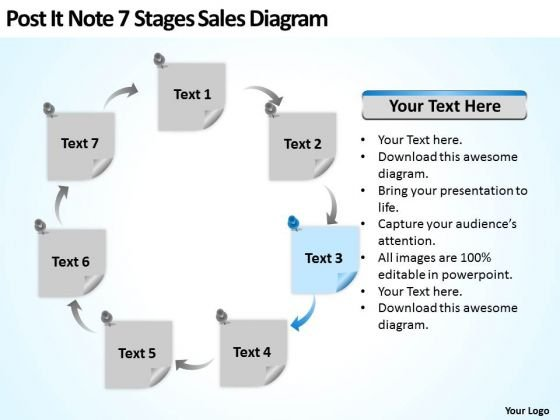 Post It Note  Stages Sales Diagram Ppt Business Development Plan