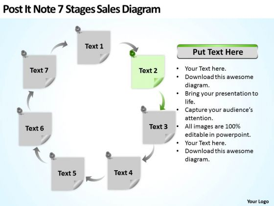 Post It Note 7 Stages Sales Diagram Ppt Business Plan Outline PowerPoint Slides