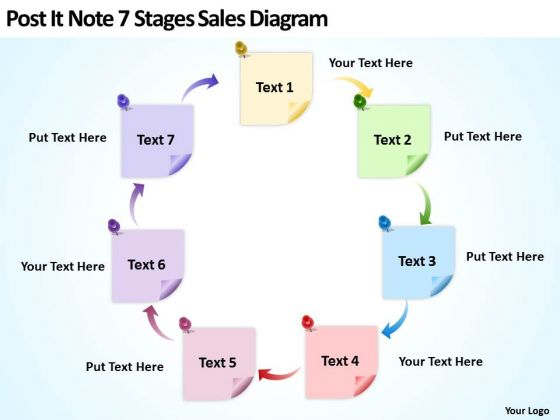 Post It Note 7 Stages Sales Diagram Ppt Business Plan PowerPoint Templates