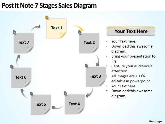 Post It Note 7 Stages Sales Diagram Ppt Business Plans That Work PowerPoint Slides