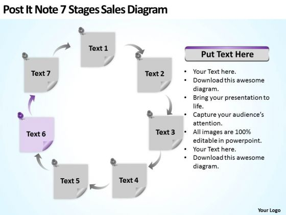 Post It Note 7 Stages Sales Diagram Ppt New Business Ideas PowerPoint Templates