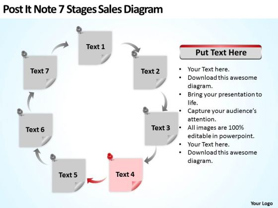 Post It Note 7 Stages Sales Diagram Ppt Realtor Business Plan PowerPoint Slides