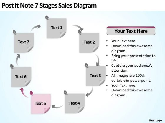 Post It Note 7 Stages Sales Diagram Ppt Writing Up Business Plan PowerPoint Slides