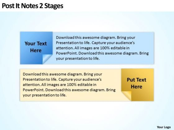 Post It Notes 2 Stages Ppt Marketing Plan For Small Business PowerPoint Slides