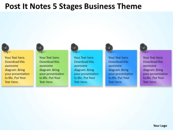 Post It Notes 5 Stages Business Theme Ppt Templates For Plans PowerPoint Slides