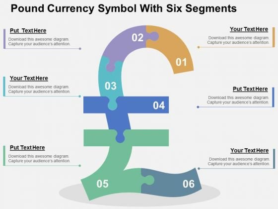 Pound Currency Symbol With Six Segments PowerPoint Template