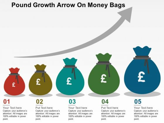 Pound Growth Arrow On Money Bags PowerPoint Templates