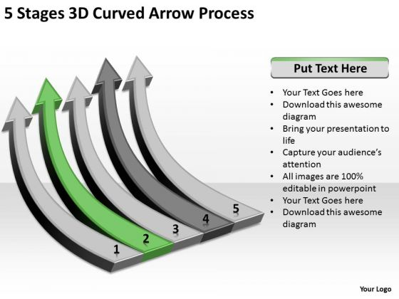 Power Point Arrow 5 Stages 3d Curved Process PowerPoint Templates