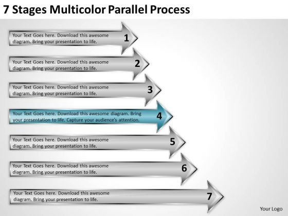 Power Point Arrow 7 Stages Multicolor Parallel Process PowerPoint Slides