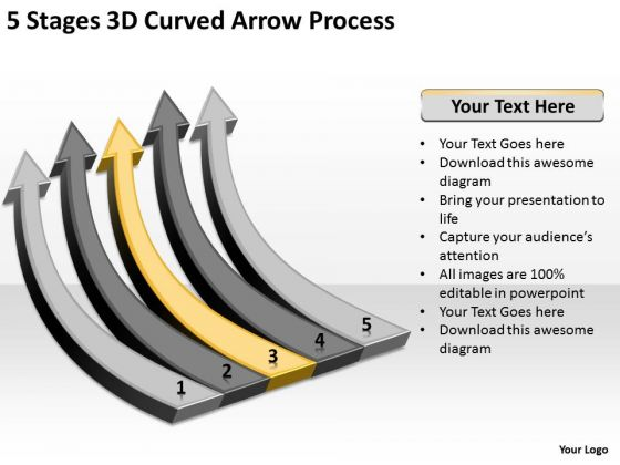 Power Point Arrows 5 Stages 3d Curved Process Ppt PowerPoint Slides